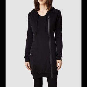 All saints black Ridley long oversized hoodie
